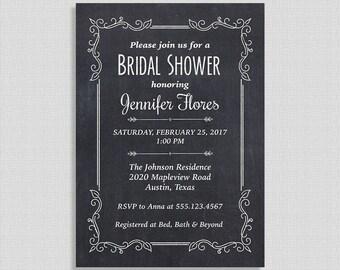 Chalkboard Bridal Shower Invitation, Chalkboard Invite, Wedding Shower Invite, DIY PRINTABLE