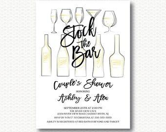 Stock the Bar Bridal Shower Invitation, Bar, Stock Bar Shower, Modern, Unique, Stylish, Typography, Digital, Printable, Wine, Co-ed, Couple