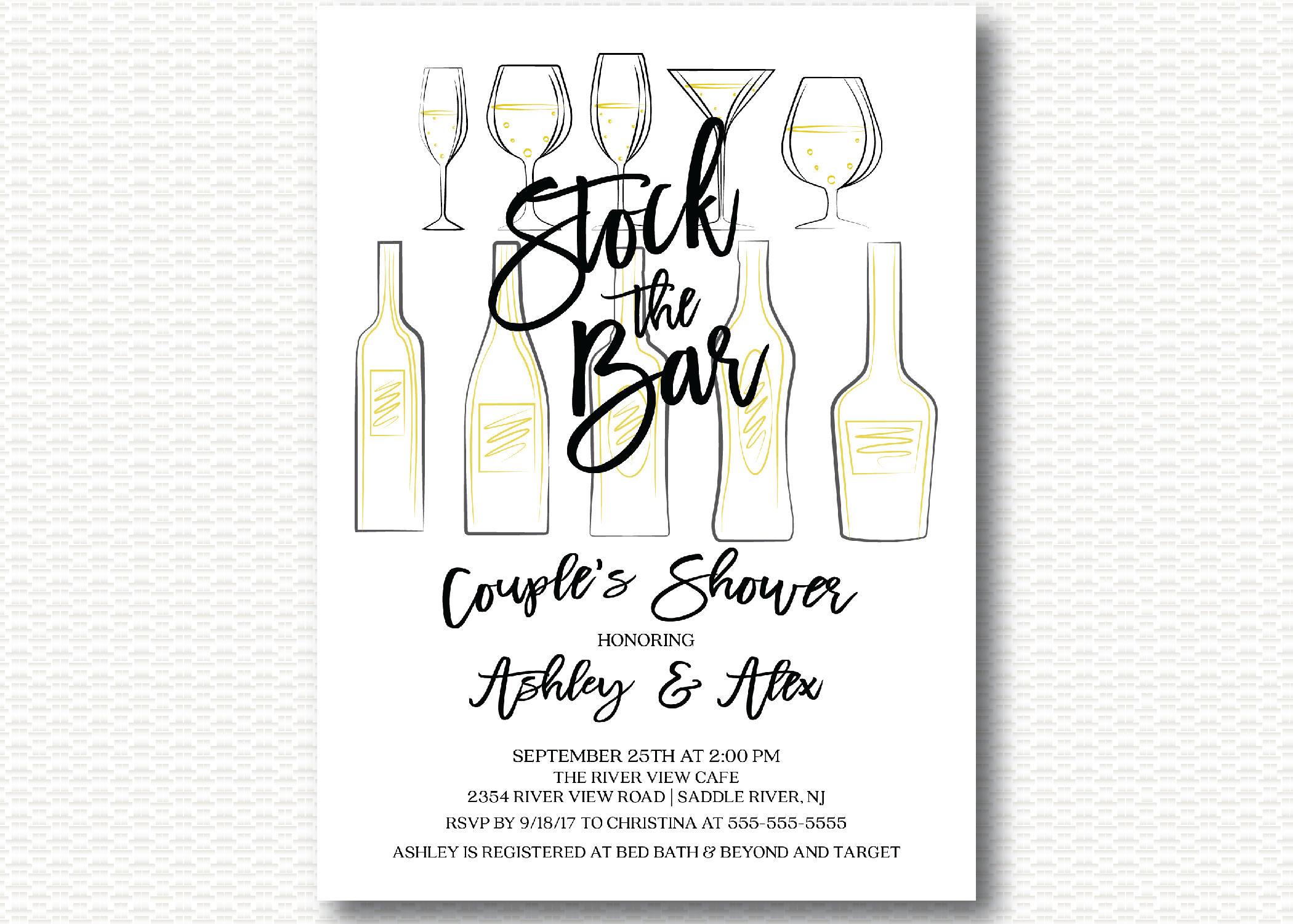 Stock the Bar Bridal Shower Invitation Bar Stock Bar Shower