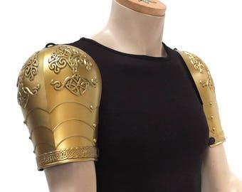 Larp Armor, Celtic Tree Yggdrasil fantasy shoulder armor, knotwork, celtic knot, Pauldrons. Cosplay armor