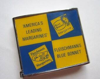 Fleischmann's Margarine Advertising Tape Measure. Blue Bonnet. Vintage tool.