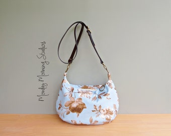 Zipper Crossbody Hobo Bag in Pastel Blue, Taupe Floral Slouch Purse, Leather Strap, Modern Womens Shoulder Bag, Zipper Hobo Purse, USA Made
