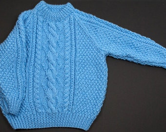 Soft Aran Childs Round Neck Sweater with Cable Front & Sleeves