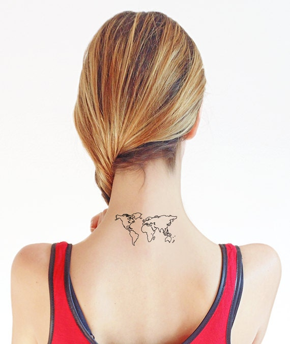 World map temporary tattoo set of 2 zoom gumiabroncs Gallery