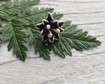Hill Tribe silver charm - flower dangle charm fine silver .999