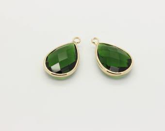 2 Pcs, Emerald Glass Pendant, Emerald Charm, 16K Gold Plated Over Brass, Framed Glass, Green Charm. 22mm x 13.5mm, Gold Bezel, 12L2-07G-01C