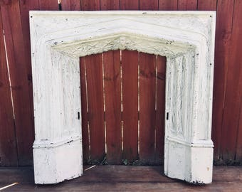 Antique Cast Iron Firplace Surround, Architectural Salvage, Gothic Arch, Church Cathedral - PICK UP ONLY