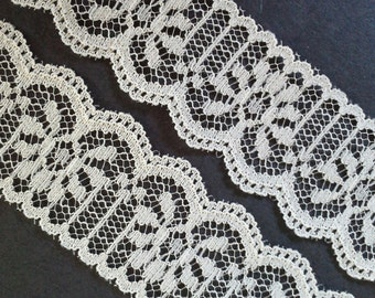 Vintage, 1 inch, off-white - ivory color lace trim- by the yard