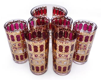 Vintage Culver Highball Glasses and Ice Bucket 1960s Barware Cranberry Scroll Signed Excellent Condition Six