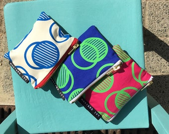 COIN PURSE Screen Printed Eco Friendly Zip Pouch Blue Lime Green Handmade in UK Abstract Colourful Bold Print Geometric Design
