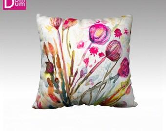 Cushion cover, ground flowers of algae in watercolor, Velvet