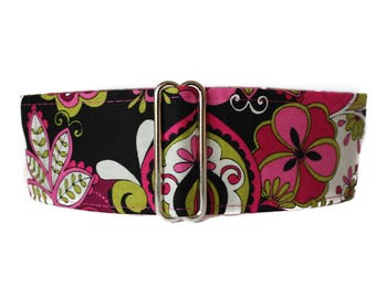 Hot Pink Martingale Collar Greyhound, 2 Inch Martingale Collar, Hot Pink Dog Collar, Pink Dog Collar, Wide Dog Collar, Funky, Flower Power