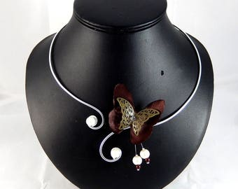 Eline - Ivory and chocolate brown Butterfly Necklace - personalized