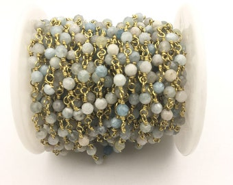 4mm faceted Aquamarine Gold Plated Rosary Gemstone Chain. Sale by Foot