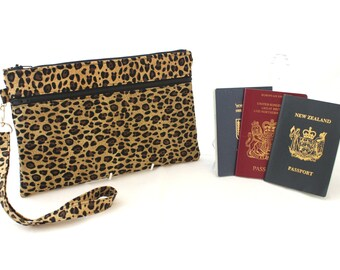 Family Passport Holder - travel document organizer - passport wallet - travel wallet - family passport case - family passport cover cheetah