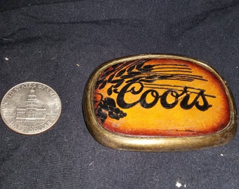 Coors Belt Buckle, Leather and Brass
