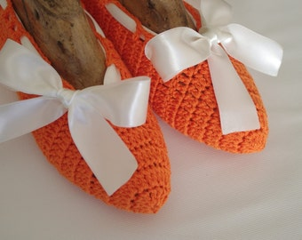 DISCOUNT Bridal wedding dance shoes slippers orange Bridal Party Bridesmaid