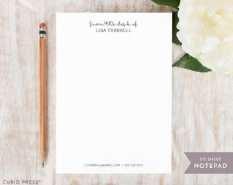 Personalized Notepad - FANCY NOTES - Stationery / Stationary Notepad - simple professional notes pad simple classy