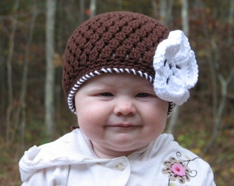 Brown Cluster Beanie with Flower Crochet Pattern PDF 042 Permission to Sell Finished Items