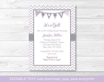 Purple Chevron Baby Shower Invitation / Baby Girl Shower / INSTANT DOWNLOAD Editable PDF A213