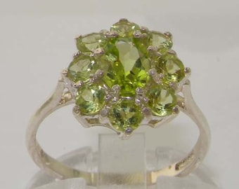 Solid 925 English Sterling Silver 2ct Natural Peridot Cluster Flower Statement Ring - Made in England -Customizable