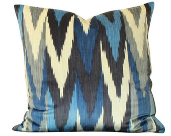 Schumacher Kashgar Ikat Pillow Cover in Blue and Grey