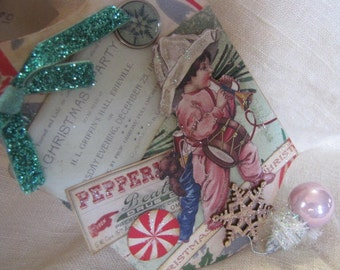 Vintage styled Christmas ornament banner in shades of pink and green