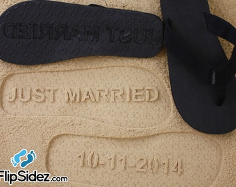 Custom JUST MARRIED flip flops - Wedding & Honeymoon Sandals *check size chart, see 3rd product photo*