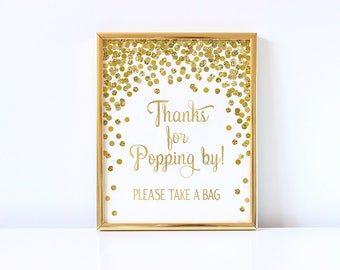 Thanks for Popping By! Popcorn Bar Sign Printable Gold Confetti Party Decorations Girl Baby Shower Popcorn Bar Sign Baby Shower Sign