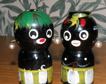 SALE Old painted Wood Salt and Pepper African Natives