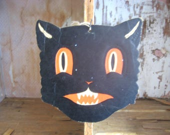 Vintage Vintage H. E. Luhr's Embossed Black Halloween Cat Face Decoration