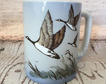 Otagiri Coffee Mug, Embossed, Geese in Flight, Blue, Made in Japan, Goose, Tea Cup, Gibson Greetings