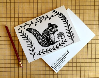 "SQUIRREL NUT greeting card with envelope 5"" x 7"""