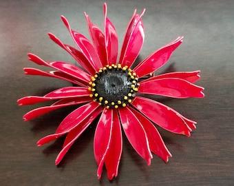 Vintage Large Red Multi Petal Enamel Flower Brooch Pin