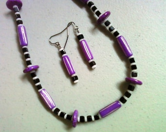 Ethnic Inspired Purple, Black and White Bone Necklace and Earrings (0188)
