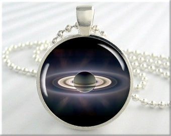 Planet Saturn Pendant, Cassini Space Probe Charm, Picture Necklace, Resin Charm, Gift Under 20, Space Gift, Round Silver 394RS
