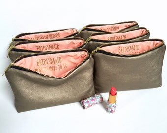 Six Bridesmaids Gifts, Gifts Bridesmaids, Bridesmaids, Bridesmaid, Personalized Bridesmaids Gifts. Gold Custom Secret Message Makeup Bags.