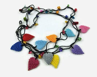Crochet Strawberry Oya Lace  Eye Glass Chains, Eye Glass Cord  Women Eye Glass Necklace Gift for Mom, Eye Glass Holder  Chain for glasses