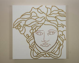 Versace Painting (20x20) Medusa, Rhinestones, Pop Art, Abstract, Gold Art, Home Decor Art, Decor Painting