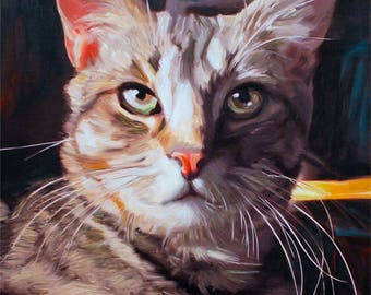 Cat Lover Gift Pet Portrait Custom Cat Painting Personalized Home Decor Wall Art
