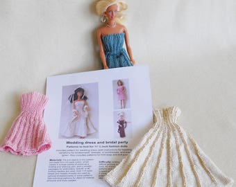 knitting pattern for barbie doll wedding dress and bridal party