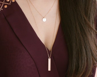 Bar necklace - Vertical long initial necklace, gold filled or sterling silver necklace, layered bar drop necklace, fall fashion jewelry