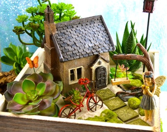 Fairy Garden Planter Kit ~ French Countryside Cottage ~ Miniature Garden Set ~ Sand NOT Included ~ Fake Succulent/Fairy Option at Checkout