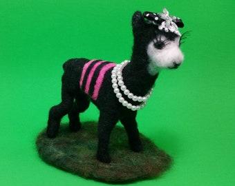 Llama With Pearls / Needle Felted Llama / Flirty Llama / Alpaca / Ready for Shipping