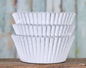 White Foil Cupcake Liners, White Foil Baking Cups, White Wedding Cupcake Liners, White Baking Cups, White Cupcake Liners (50)