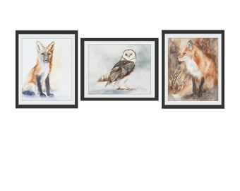 fox painting of fox art PRINT woodland nursery art Fox PRINT of fox watercolour painting fox nursery art print baby fox owl set You Pick