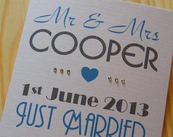 Wedding Day Handmade Personalised Card - Just Married
