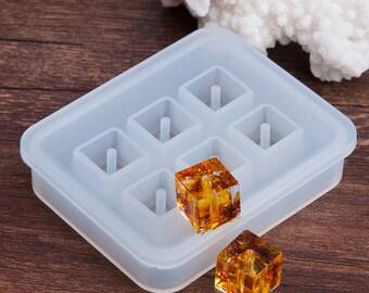 Moule en silicone pour création de perles Cubes en résine