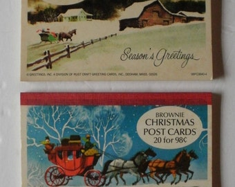 Free Shipping - Vintage Christmas Post Card Booklet - Sleigh Horse - 20 Cards in Each Book