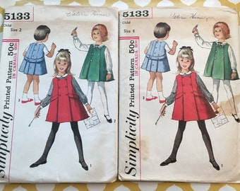 U Pick RARE 1960S Simplicity Sewing Pattern 5133 Girls Jumper Dress & Blouse Size 2 Or 4 cut-Girls Pattern, girls jumper dress pattern